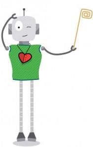Robô verde tamanho menor